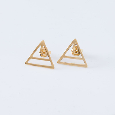 Alynne Lavigne 22K Gold Plate Triangle Earrings