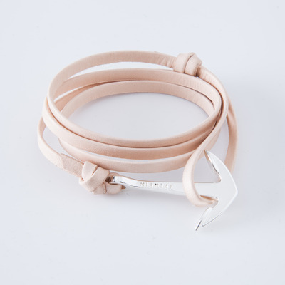 Miansai Silver/Natural Anchor Leather Bracelet