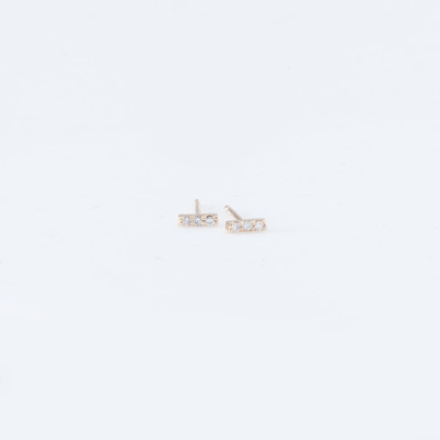 Vale 3 Diamond Tiny Pavé Bar Stud Earrings