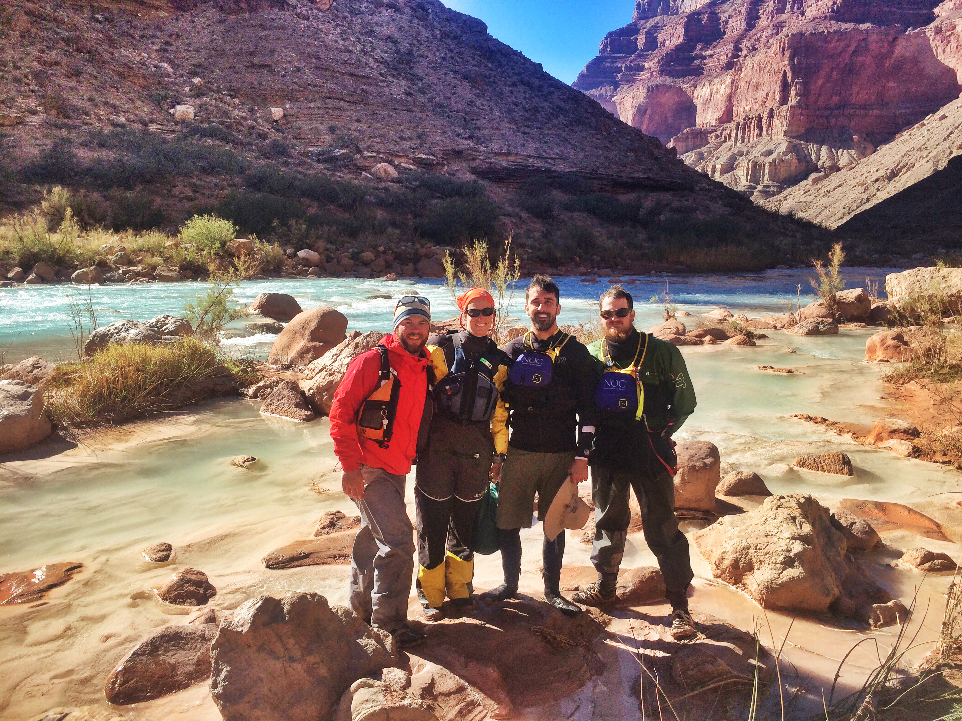 NOC Guides take a break during the LCR hike in the Grand Canyon.