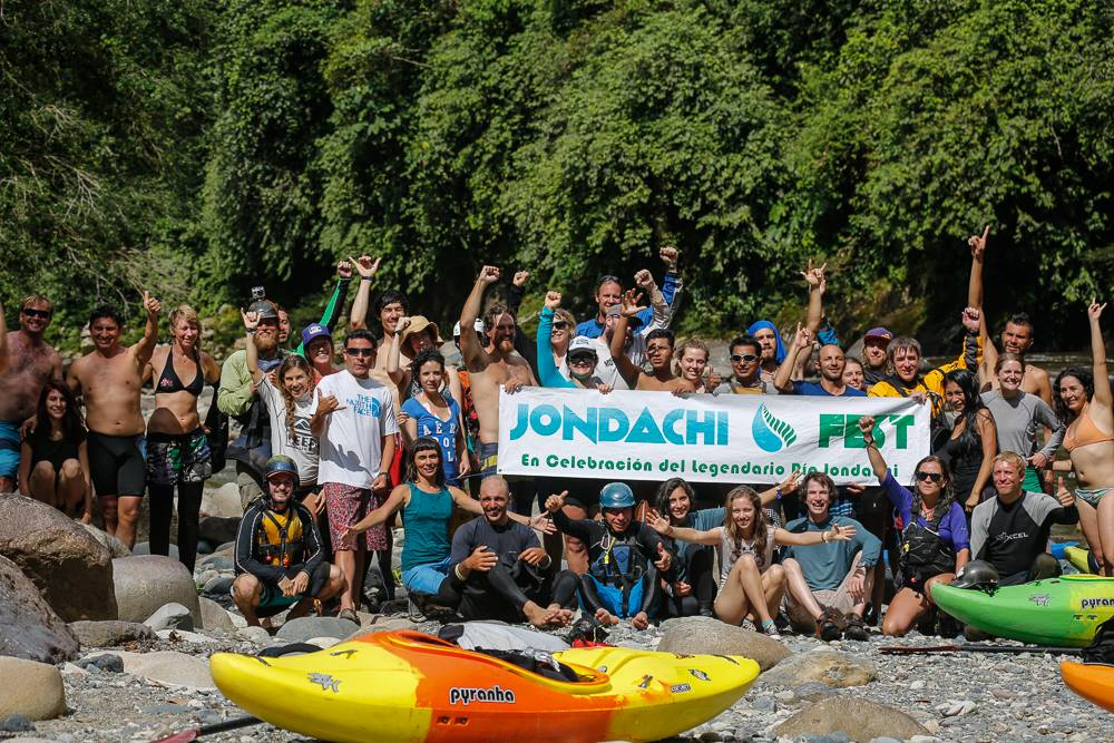 Participants of the Jondachi Festival pose for a group photo in the Ecuadorian Jungle.