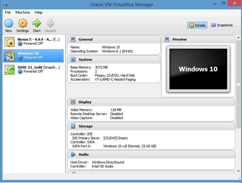 virtualbox parameters for Windows 10 preview edition