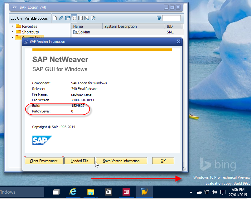 SAP GUI 7.40 Patch level 0