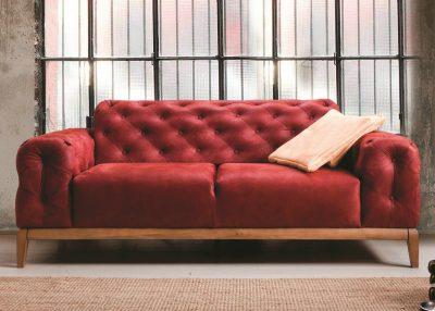 Berrak Sofa In Red Nubuck Fabric