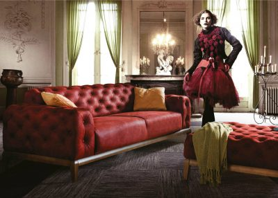 Berrak Sofa In Red Nubuck Fabric