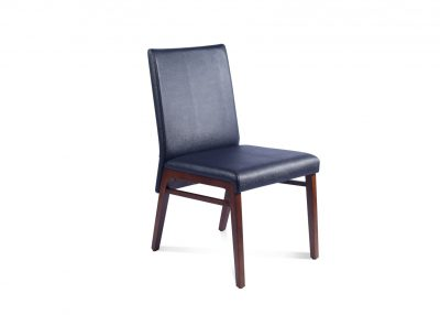 Dining Chair In Black Leather & Walnut