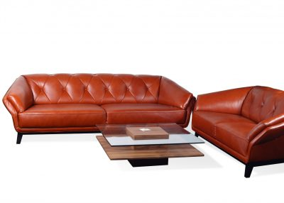 3+2 Sofa Set In Tan Leather & Wood