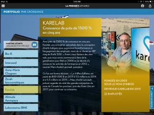 Dans La Presse ce matin: Karelab, PME en croissance
