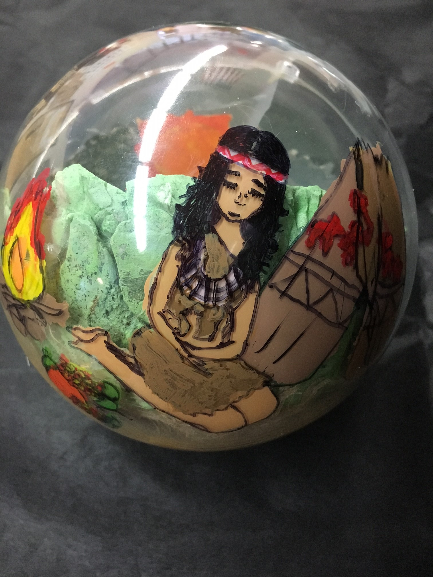 Glass globe ornament with American Indian woman figure