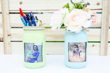 DIY Mason Jar Photo Flower Vase