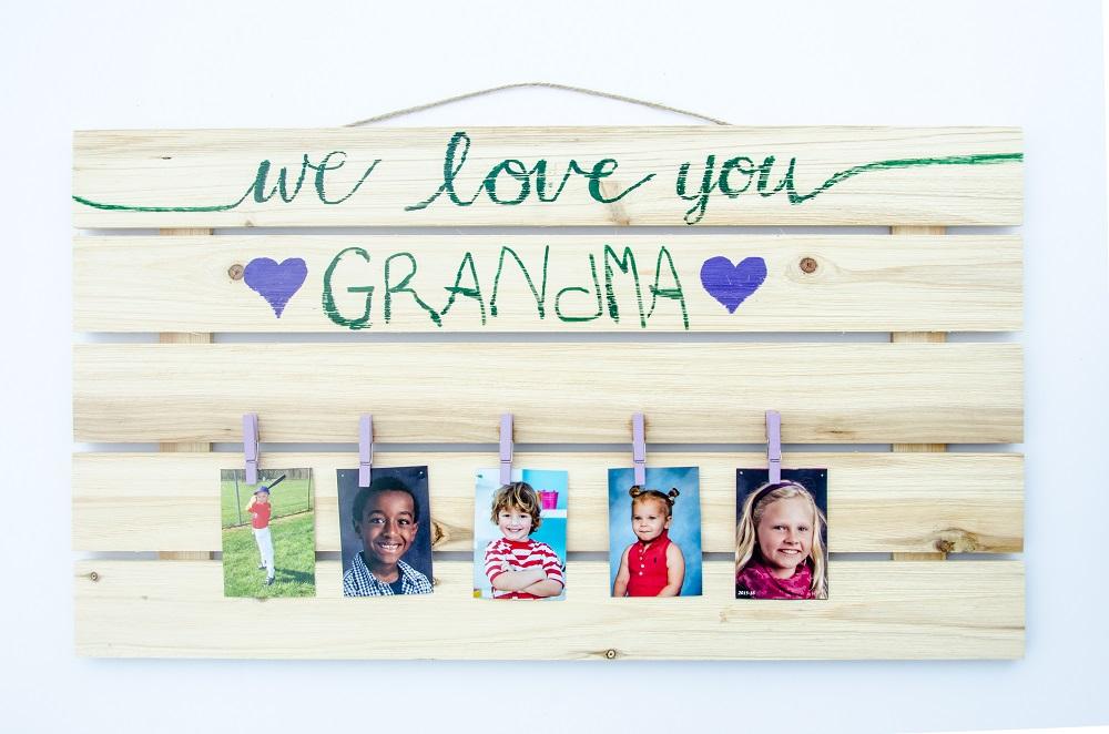 """We Love You, Grandma"" Photo Wall Display"