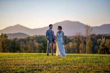 Bride and Groom in front of Mountain Range