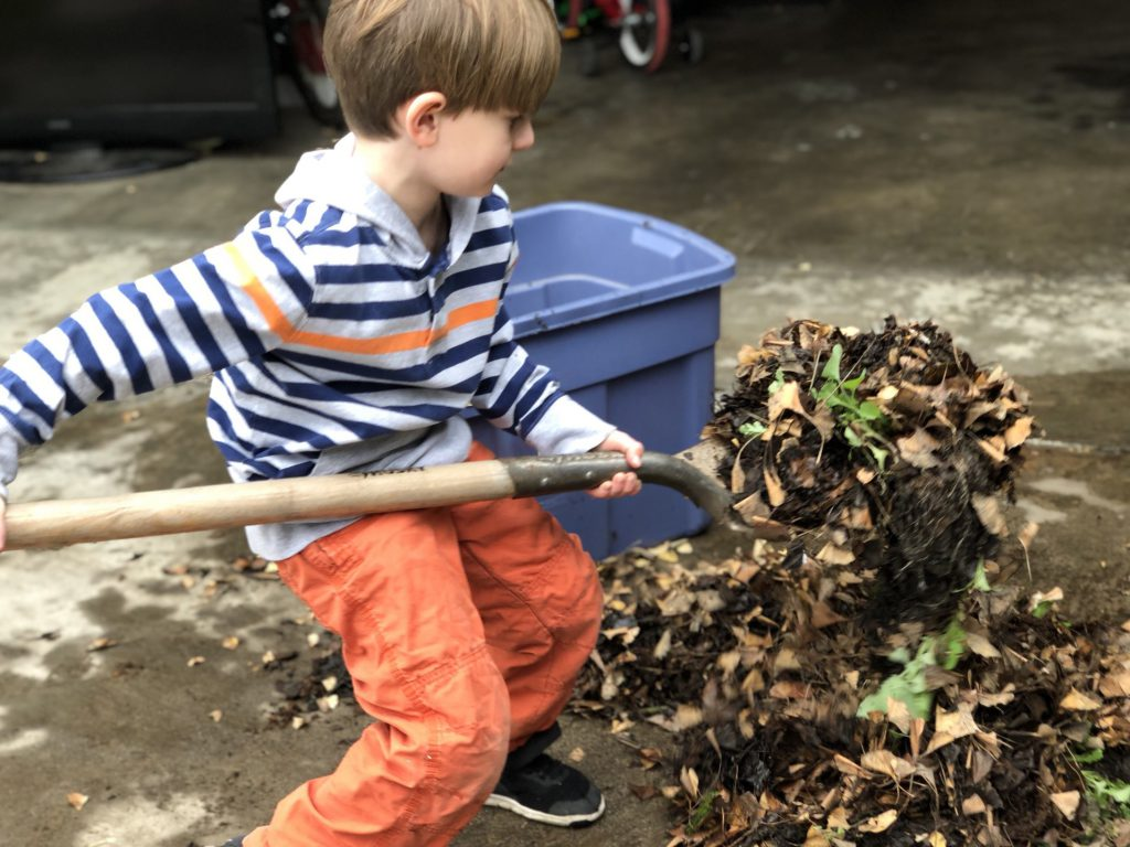 kid helping with chores