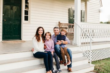 Family during holiday card photo shoot