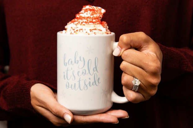 Mug filled with hot chocolate and whipped cream