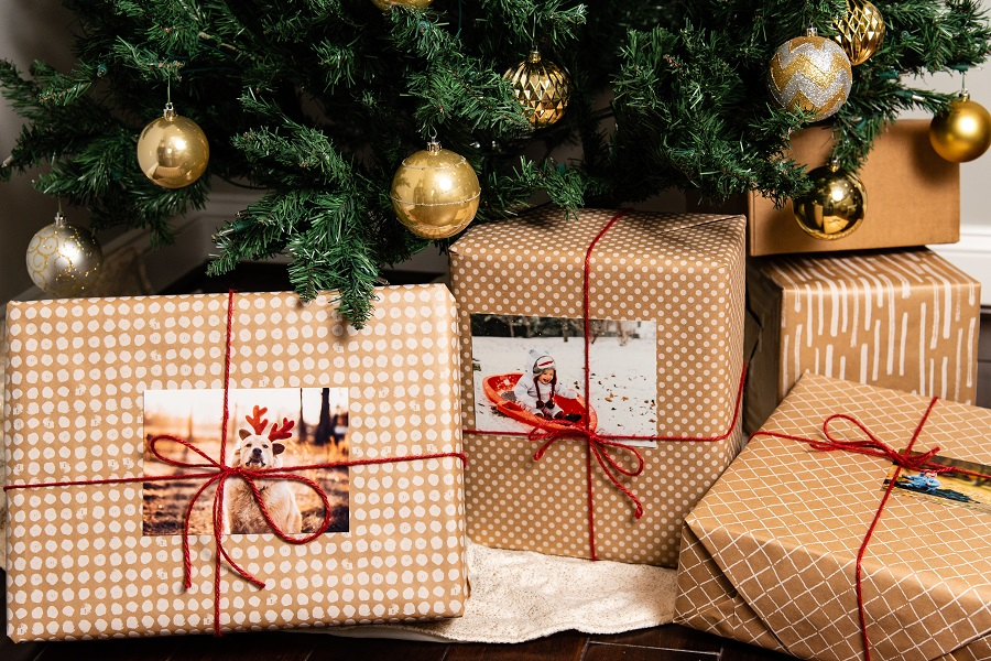 photo prints as gift tags