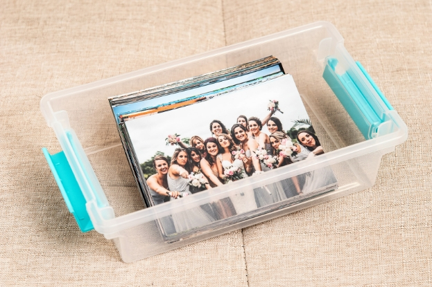 Photo Prints in a clear, plastic storage box