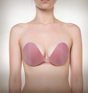 Image of NuBra backless strapless bra front view color pink
