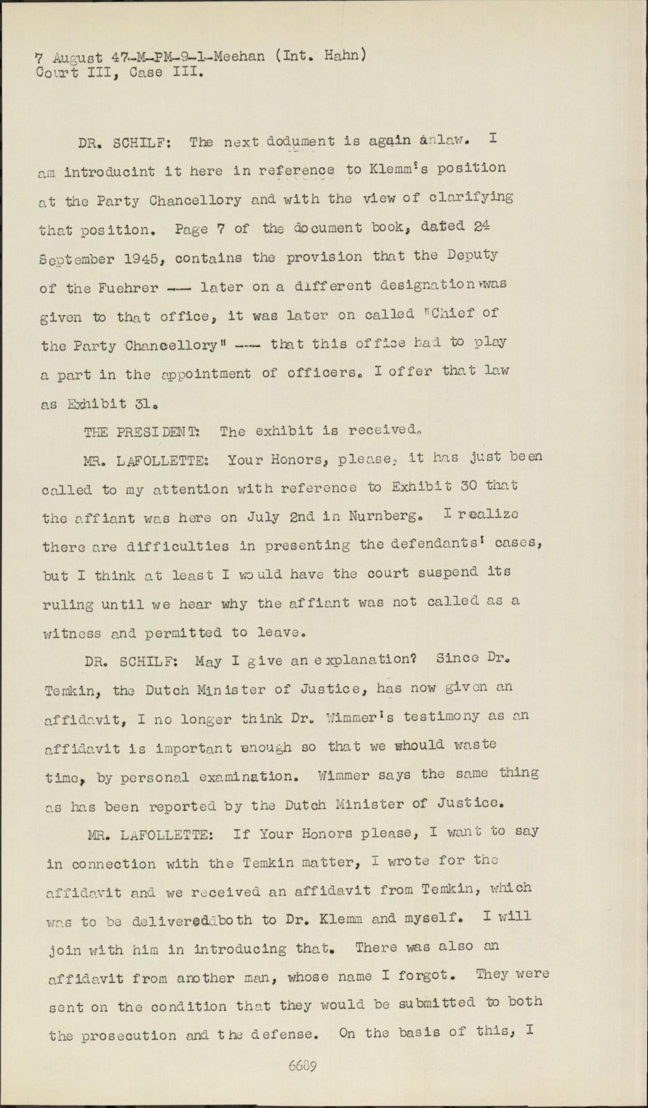 Dr Lex Nürnberg nuremberg - transcript viewer - transcript for nmt 3: justice case