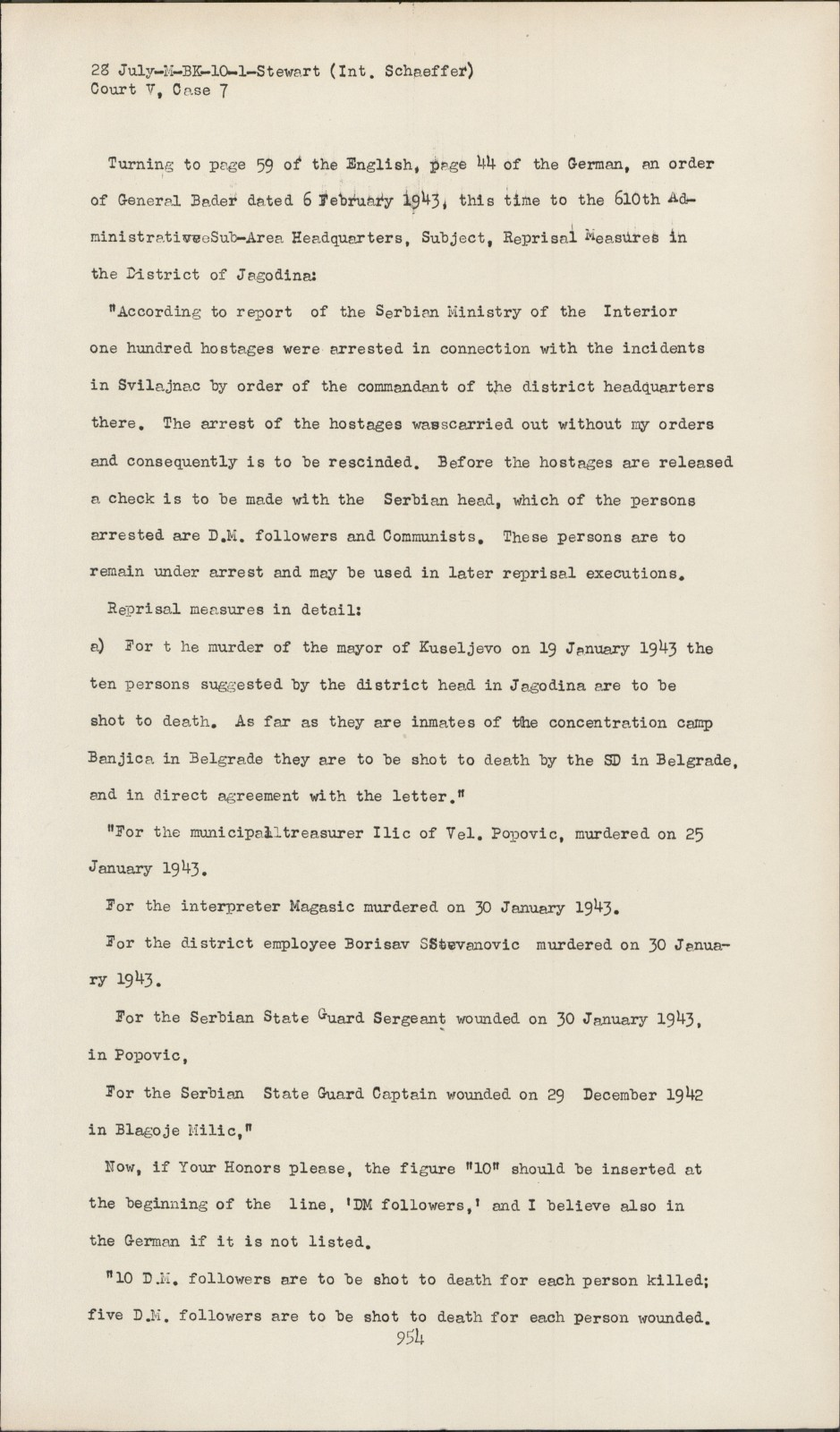 Nuremberg Transcript Viewer Transcript For Nmt 7 Hostage Case