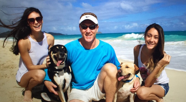 Howard with daughters Kylee and Briana, and Guinness and Jäger