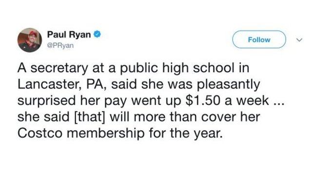Ryan Celebrates School Secretary's '$1.50 A Week' Paycheck Increase From Tax Bill