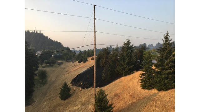 Crews battle grass fire along I-205