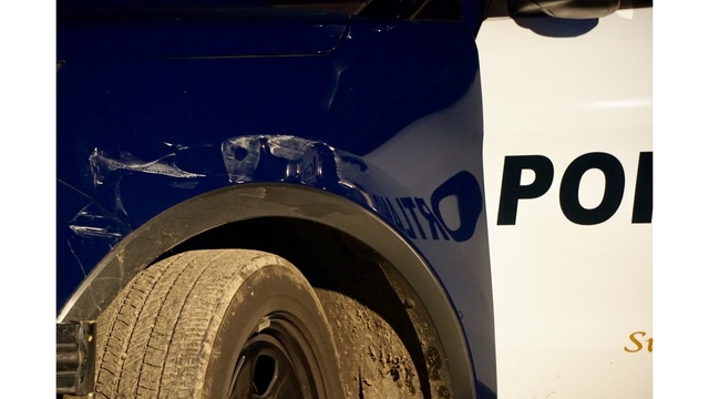 Officer injured after suspect crashes into police car