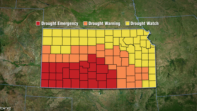 Gov. declares all Kansas counties in drought; Ellis Co. in Drought Warning