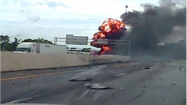 Police release video of interstate semi explosion