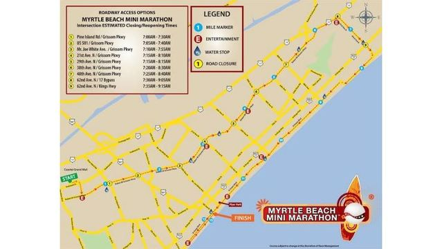 Course Changes Road Closures For Myrtle Beach Mini Marathon