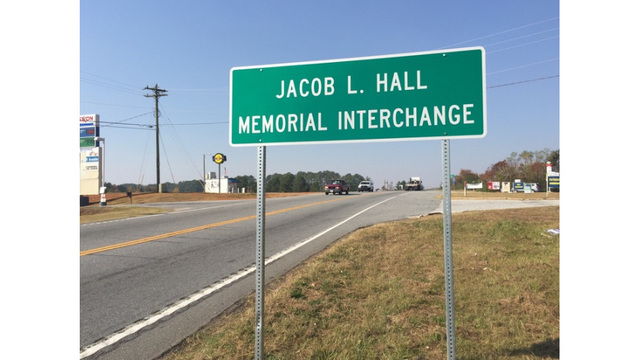 Jacob Hall memorial intersection sign unveiled in Anderson County