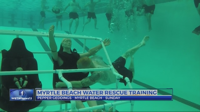 Myrtle Beach Firefighters Simulate Car Water Rescues