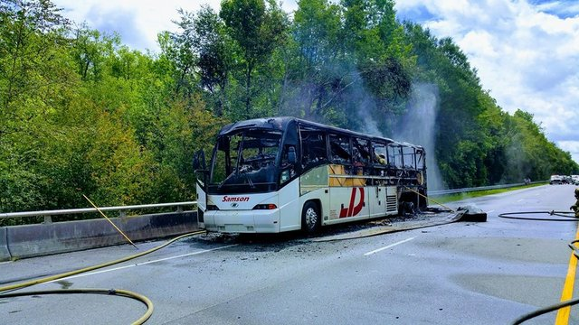 Tour bus catches fire on Hwy 501 in Marion County