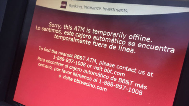 BB&T fixes ATMs hit by tech glitch, but online banking still down