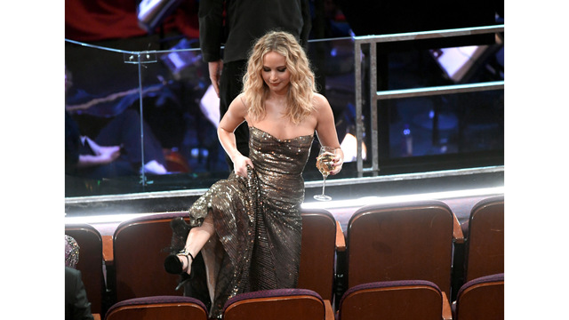 PHOTOS: Jennifer Lawrence avoids third fall at the Oscars