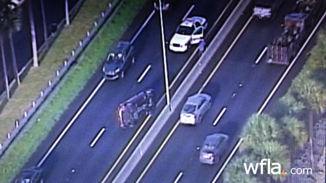 Rollover crash in EB Courtney Campbell causing delays