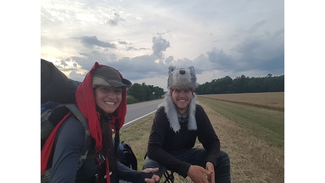 Couple walks across the country dressed as Little Red Riding Hood to bring awareness