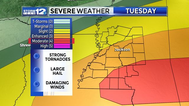 Severe weather expected to move throughout Mississippi Tuesday