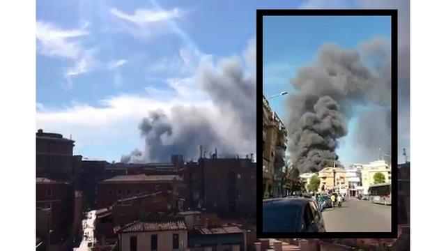 BREAKING: Fire in Rome junkyard explodes gas tanks, spreads dark smoke