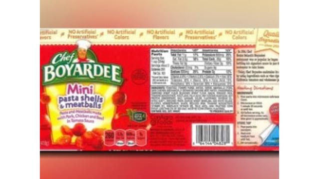 CONSUMER ALERT: Recall issued for Chef Boyardee Products