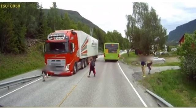 Dashcam video shows near-miss of children crossing highway