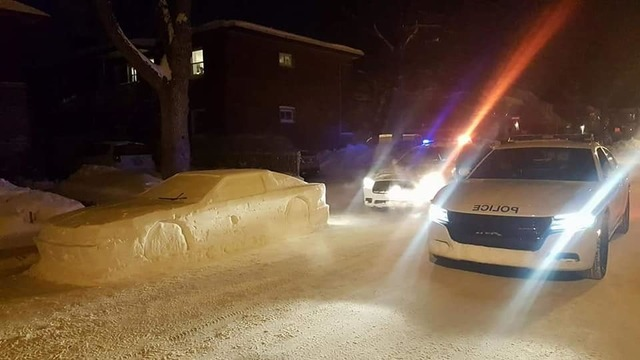 Canadian artist pranks police with 'car' made of snow