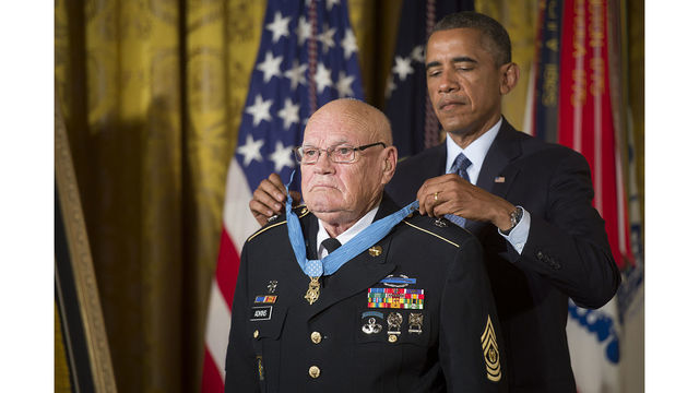 Mass. Medal of Honor recipient on field for Super Bowl coin toss