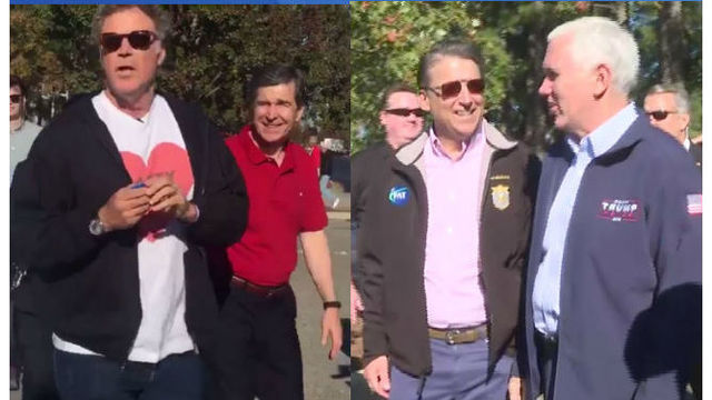 NC candidates for governor campaign at NC State tailgating with Will Ferrell and Mike Pence
