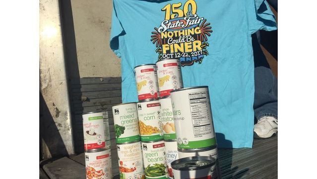 5 cans of Food Lion canned food gets you free entry into the NC State Fair today