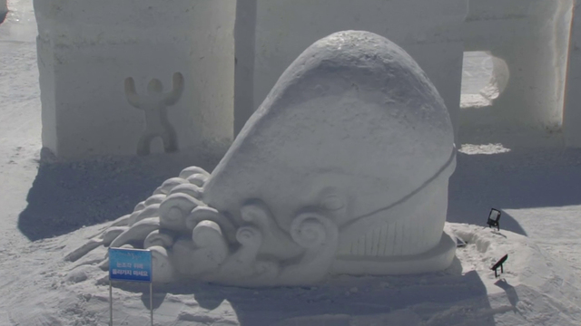 Ice sculpting an Olympic-worthy event unto itself in South Korea