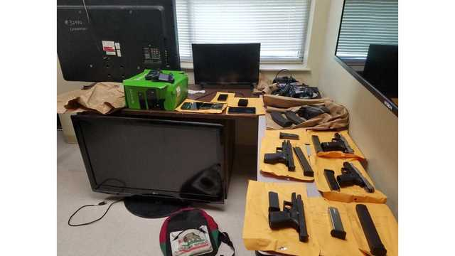Search warrant at Opelika home nets weapons, TV's, hunting bow, and drugs