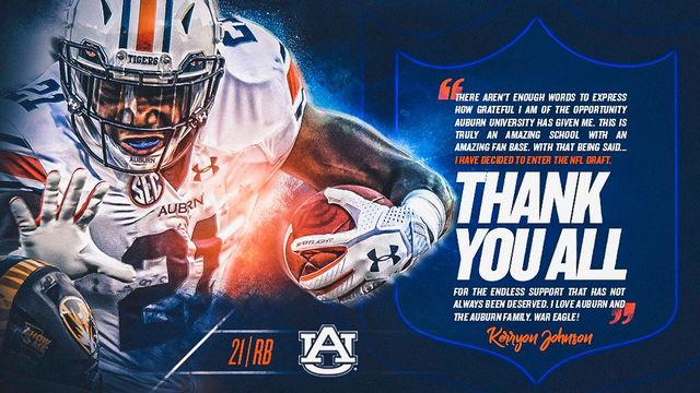Auburn running back Kerryon Johnson to enter NFL draft