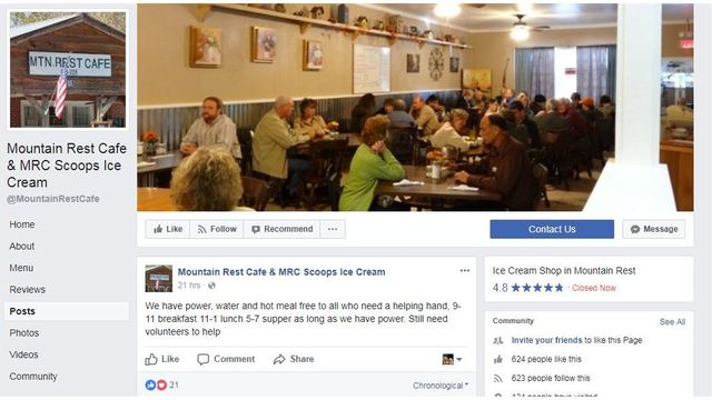 Mountain Rest restaurant offering free meal to those in need